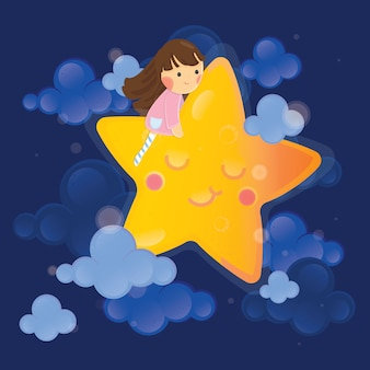 Cute character illustration. girl with moon on dark sky