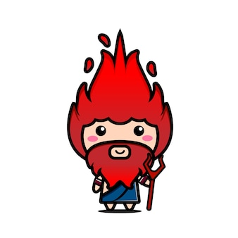 Cute character illustration of hades with red fire