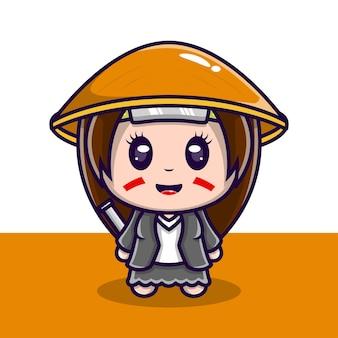 칼을 든 귀여운 캐릭터 일러스트 사무라이 소녀