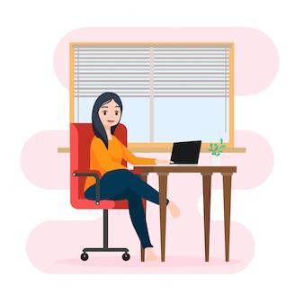 Милая иллюстрация персонажа сидя работающ с компьтер-книжкой, концепцией сидеть дома или работа дома для того чтобы защитить себя от коронавируса,