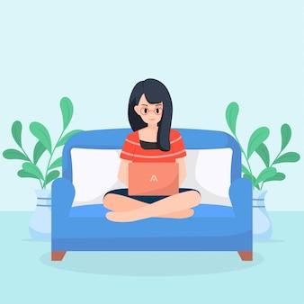 ソファの上のノートパソコンでの作業、座っているかわいいキャラクターイラスト