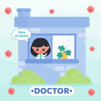 바이러스를 방지하기 위해 집에서 집에 머무르는 캠페인을 하는 의사 유니폼을 입은 귀여운 캐릭터