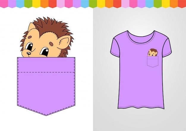 シャツのポケットにかわいいキャラクター。ハリネズミの動物。