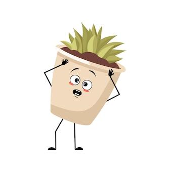 당황한 감정이 있는 냄비에 있는 귀여운 캐릭터 실내 식물은 놀란 얼굴로 머리를 움켜잡는다
