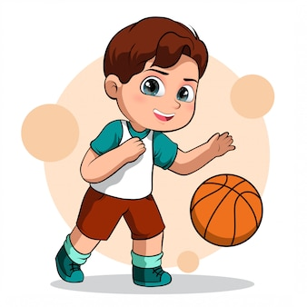 Cute character of a male basketball player