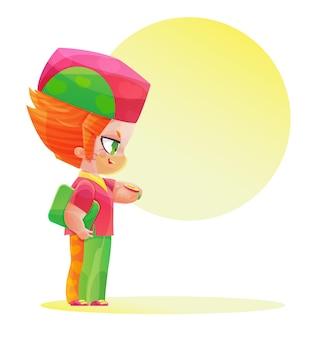시계를 보고 있는 귀여운 캐릭터 남성 의사. 만화와 애니메이션 스타일로 그리기. 분홍색과 녹색 밝은 색상의 유치한 만화 스타일