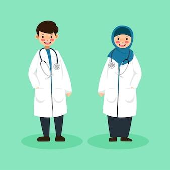 ヒジャーブとかわいいキャラクターの男性医師と女性医師