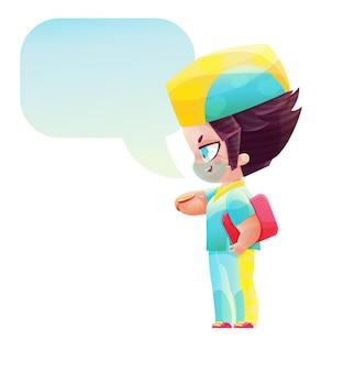 시계를 보고 있는 귀여운 캐릭터 남자 의사. 만화와 애니메이션 스타일로 그리기. 밝은 색상의 유치한 만화 스타일
