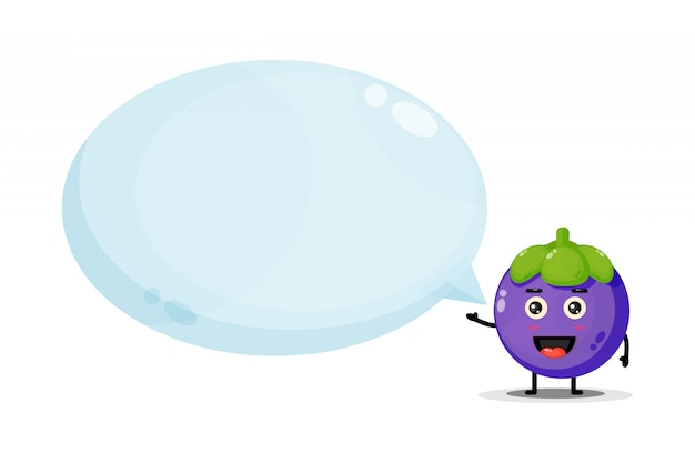 Cute character mangosteen with bubble speech