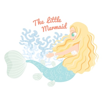 Cute character mermaid with coral