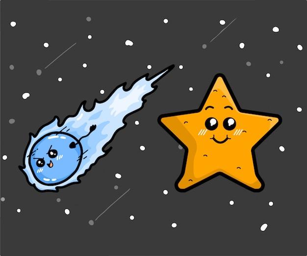 Симпатичные персонажи метеоры и звезды