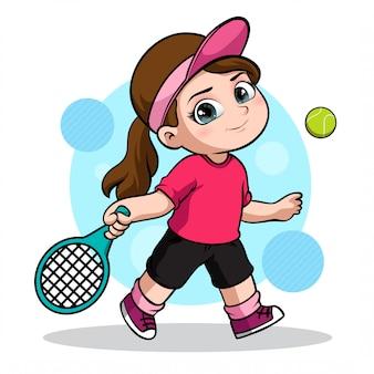 여자 테니스 선수의 귀여운 캐릭터