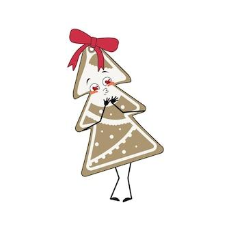 쾌활한 크리스마스 트리 모양의 진저브레드 쿠키의 귀여운 캐릭터는 눈 하트, 키스 얼굴, 팔, 다리와 사랑에 빠집니다. 재미 또는 미소 감정으로 새해 복 많이 받으세요 과자 장식