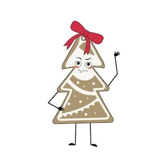 감정, 얼굴, 팔, 다리가 있는 크리스마스 트리 모양의 진저브레드 쿠키의 귀여운 캐릭터. 새해 복 많이 받으세요 과자, 재미있거나 자랑스럽고 횡포한 영웅. 활과 휴일 장식