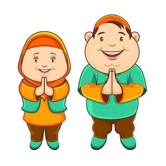두 뚱뚱한 이슬람 아이의 귀여운 캐릭터