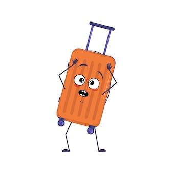 Симпатичный персонаж из отпускных чемоданов с эмоциями в панике хватается за голову