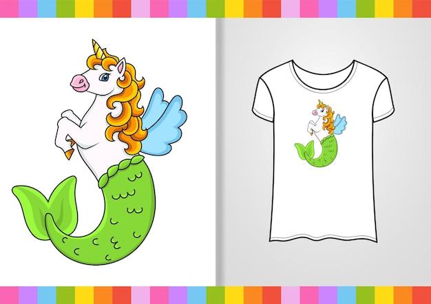 셔츠에 귀여운 캐릭터 귀여운 인어 유니콘 손으로 그린