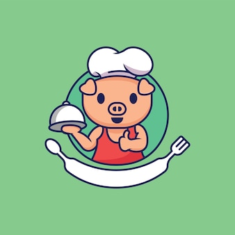 Cute character pig chef