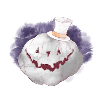 Cute character pumpkin scarecrow watercolor illustration for halloween