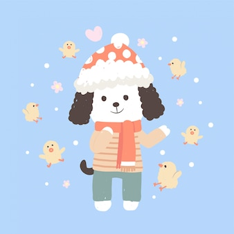 Cute character puppy winter cloth