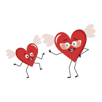 날개와 즐거운 감정을 가진 귀여운 캐릭터 붉은 마음 미소 얼굴 행복한 눈 팔 다리 축제 ...