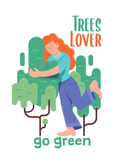 Cute character of redhead woman or girl which hugging green tree in hipster cartoon style with textures and phrase