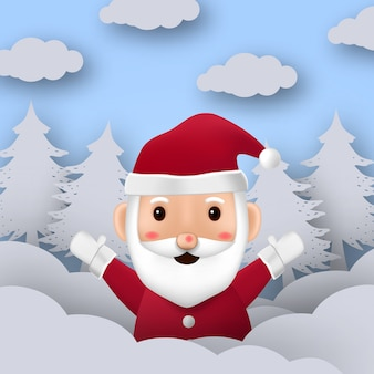 Cute character of santa claus with for merry christmas