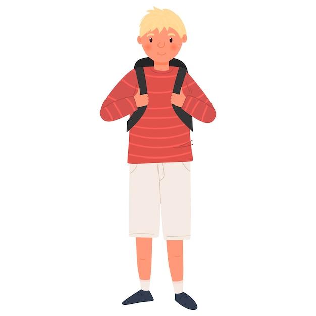 Симпатичный школьник персонажа. мальчик-подросток. обратно в школу. изолированные на белом фоне.
