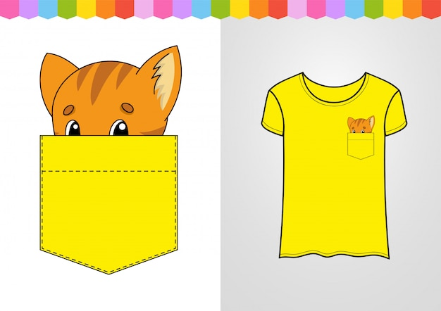 Cute character in shirt pocket. cat animal.