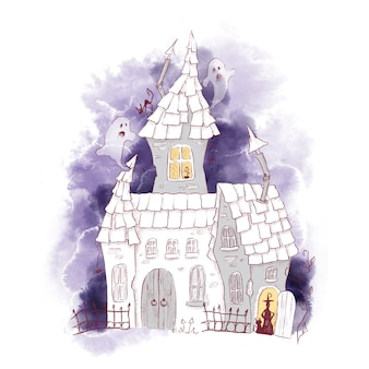 Cute character witch castle house watercolor illustration for halloween
