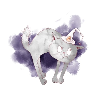 Cute character witch cat watercolor illustration for halloween