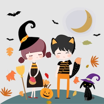 Cute character witch and happy halloween