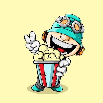 Cute character with big popcorneps