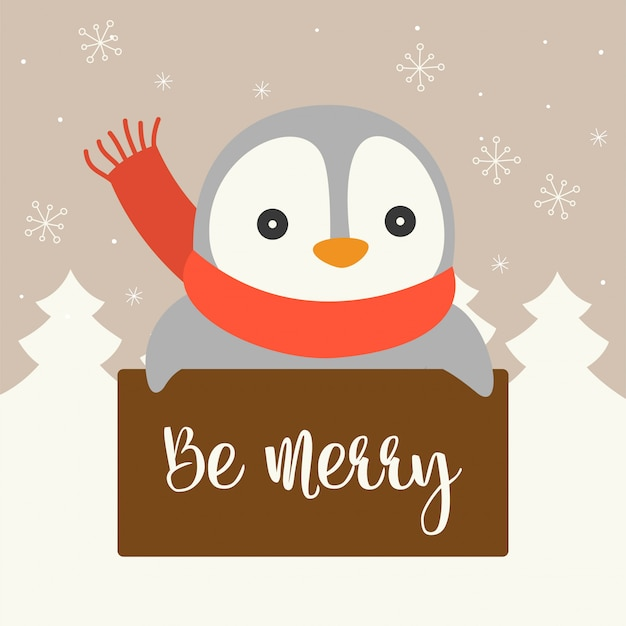 Cute character with board for christmas poster or banner