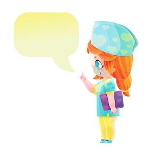 ふきだしでかわいいキャラクターの女医師。マンガやアニメのスタイルで描く。明るい色の幼稚な漫画のスタイル