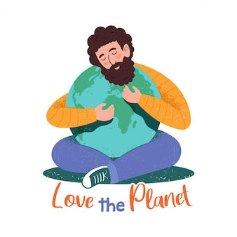 Cute character of young man which hugging the planet in hipster cartoon style with textures and phrase