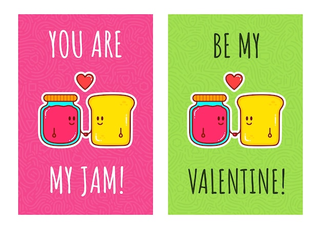Cute characters bread and jam in love. greeting cards for valentine's day.