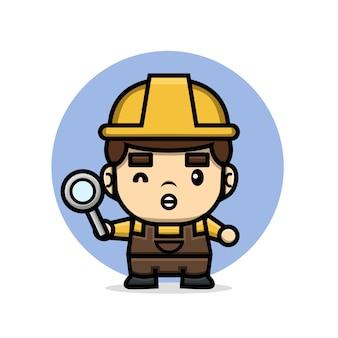 Симпатичные персонажи-строитель мужчина держит увеличительное стекло