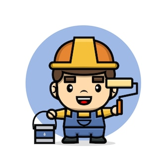 Cute characters builder man holding paint roller and preparing to painting