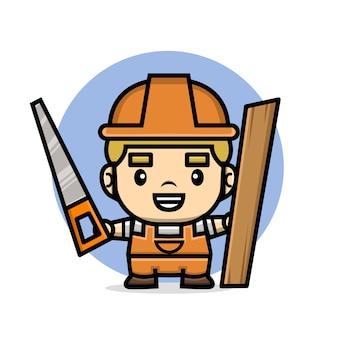 鋸と木の板を保持しているかわいいキャラクタービルダー男