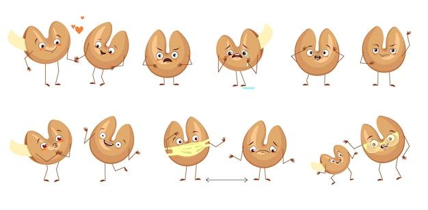 Симпатичные персонажи китайского печенья с предсказаниями с эмоциями, лицами, руками и ногами. счастливые или грустные персонажи, выпечка с белыми шаблонами, бумажки на удачу. праздничные сладости. векторная иллюстрация плоский