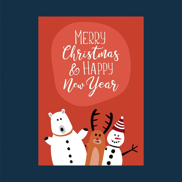 Cute characters for christmas and new year poster card