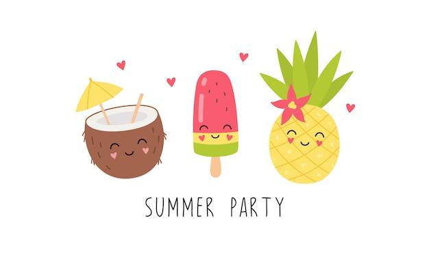 Симпатичные персонажи, кокосовый коктейль, ананас, фруктовый лед. летняя вечеринка
