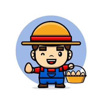 Cute characters farmer holding a basket full of eggs