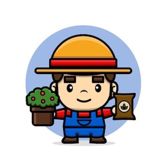 植物と肥料を保持しているかわいいキャラクター農家