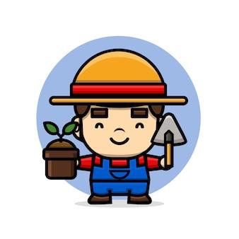 植木鉢とこてを持っているかわいいキャラクター農家