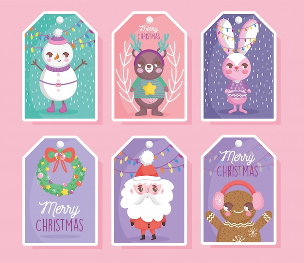 Cute characters happy christmas tags