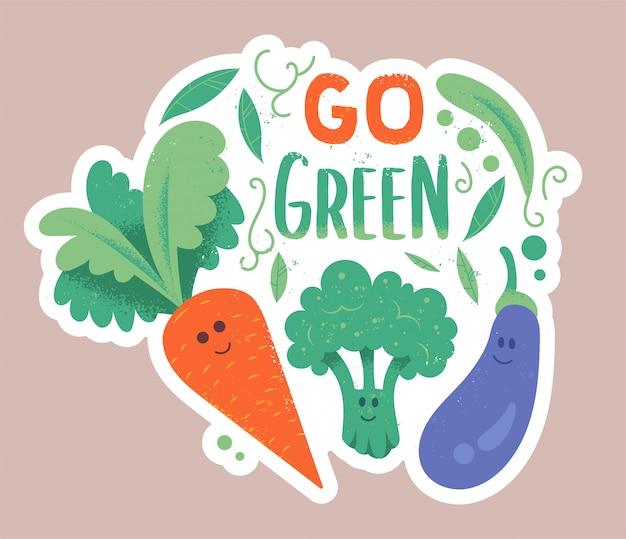 テクスチャとフレーズ「ゴーグリーン」と流行に敏感な漫画スタイルの緑の野菜ニンジンブロッコリーとナスのかわいいキャラクター。