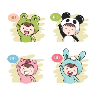 Cute characters say hi! illustration