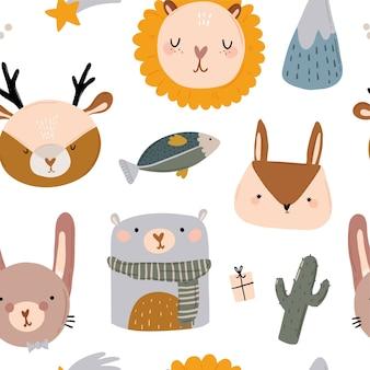 Cute characters seamless pattern